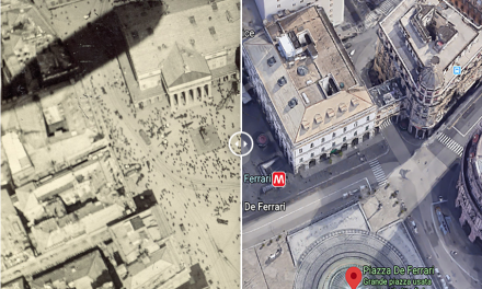 Piazza De Ferrari aerea nel 1919 e oggi